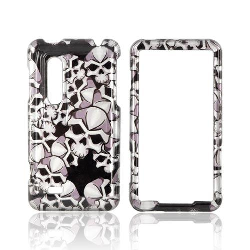 LG Thrill 4G Hard Case - Silver Skulls on Black