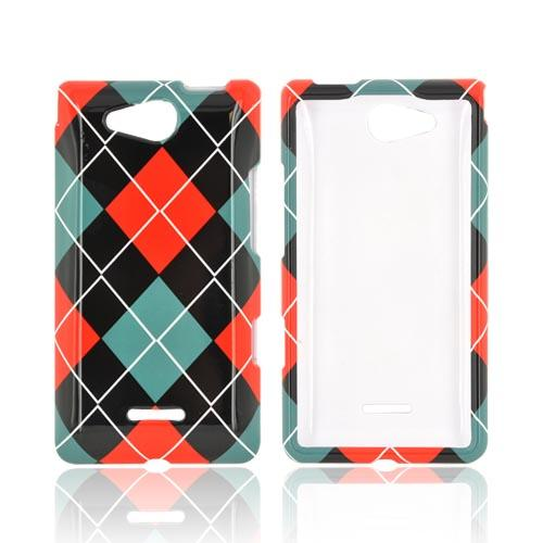 LG Lucid 4G Hard Case - Red/ Black/ Gray Argyle