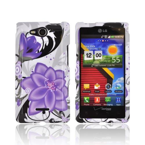 LG Lucid 4G Hard Case - Purple Lily on White