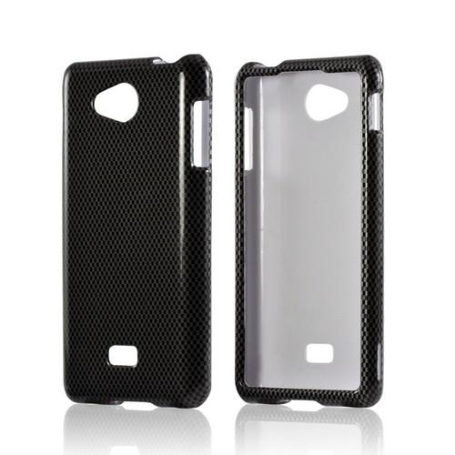 Black/ Gray Carbon Fiber Design Hard Case for LG Spirit 4G