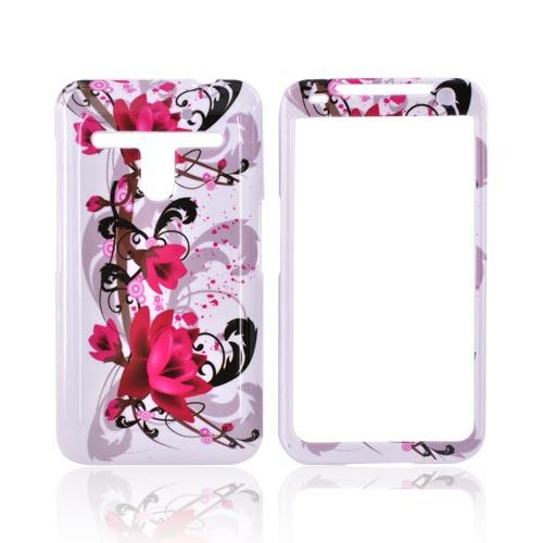 LG Revolution, LG Esteem Hard Case - Pink Flowers on White