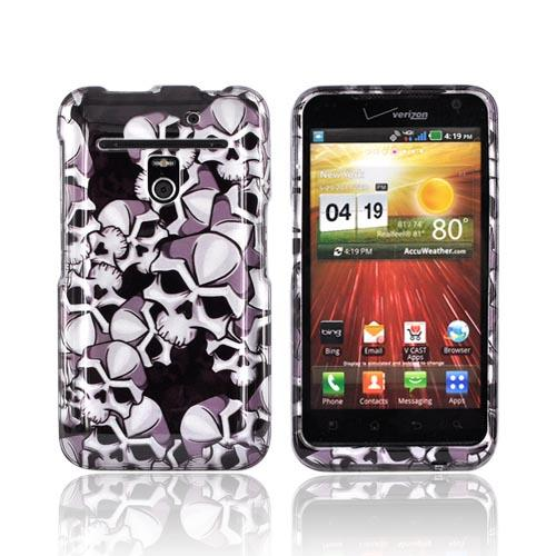 LG Revolution, LG Esteem Hard Case - Silver Skulls on Black