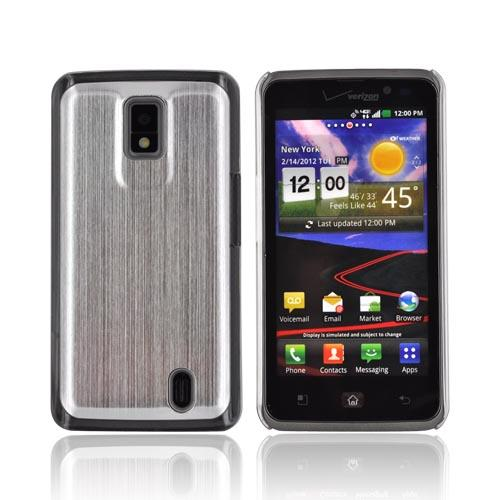 LG Spectrum Hard Back Case w/ Aluminum Back & Clear Bumper - Silver