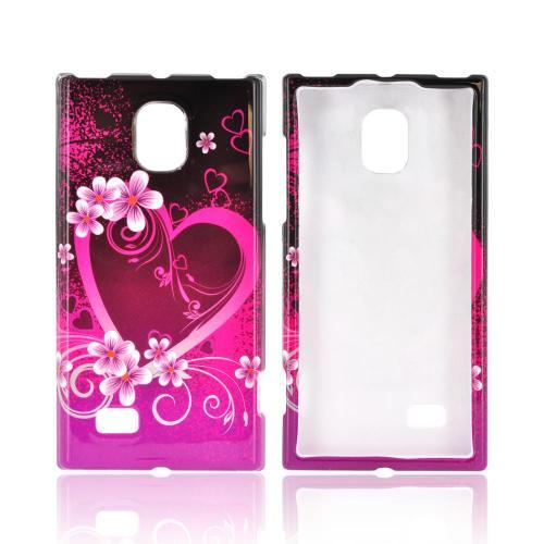 LG Spectrum 2 Hard Case - Hot Pink/ Purple Flowers & Heart