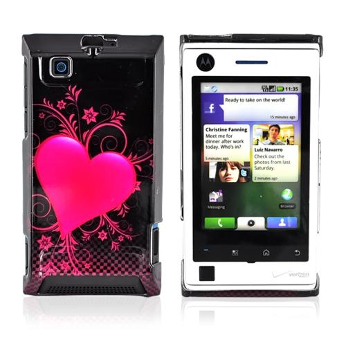 Motorola Devour A555 Hard Back Cover Case - Carbon Fiber w/ Pink Heart Design