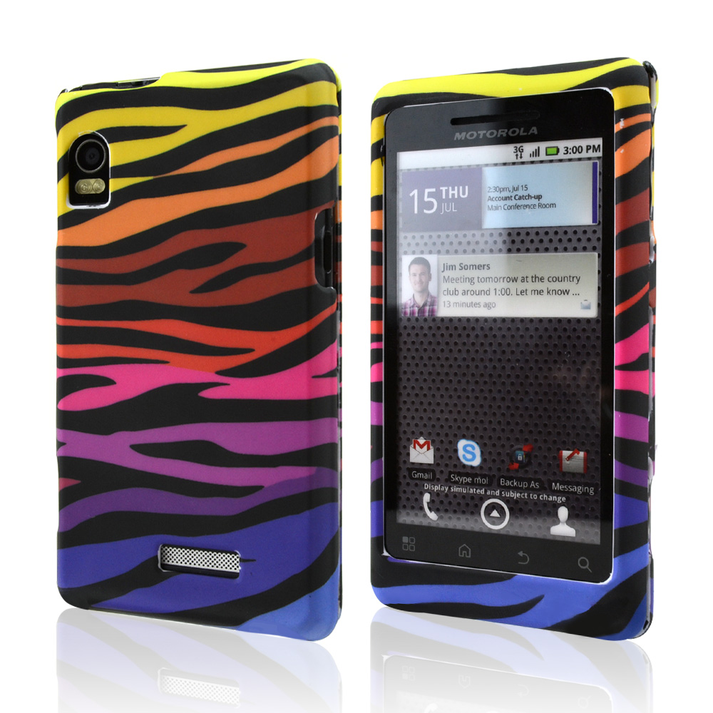 Motorola Droid 2 A955 Hard Case - Colorful Zebra on White