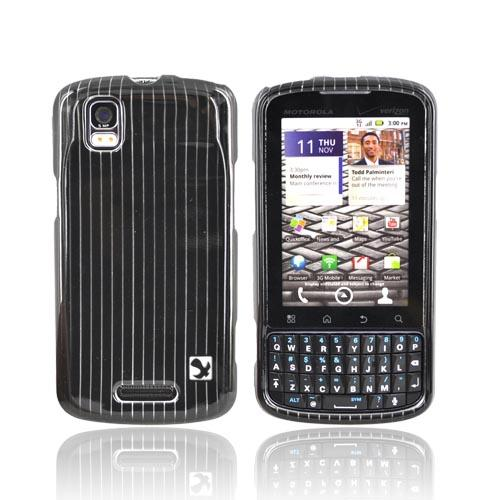 Luxmo Motorola Droid Pro A957 Hard Case - Silver Lines on Black