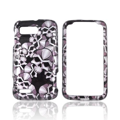 Motorola Atrix 2 Hard Case - Silver Skulls on Black