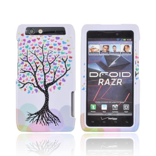 Motorola Droid RAZR Hard Case - Black Tree w/ Multi-Colored Hearts on White