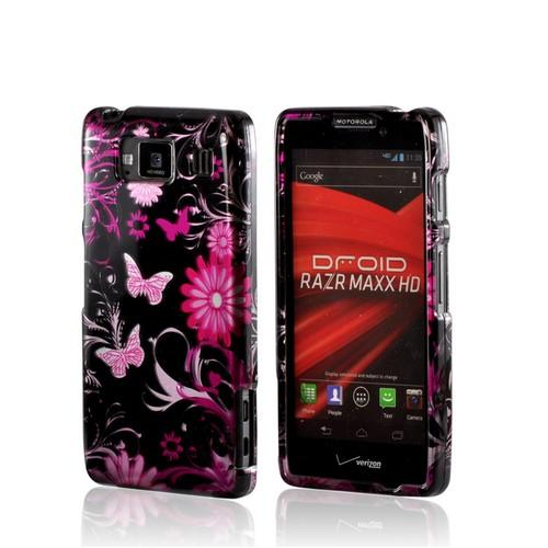 Purple Butterflies on Black Hard Case for Motorola Droid RAZR MAXX HD