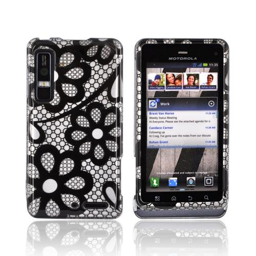 Motorola Droid 3 Hard Case - Black Flower Lace on Silver