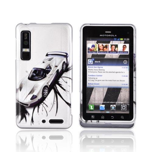 Motorola Droid 3 Hard Case - Silver Racecar on Silver