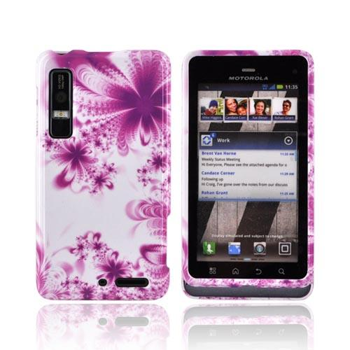 Motorola Droid 3 Hard Case - Magenta/ Purple Flowers on White