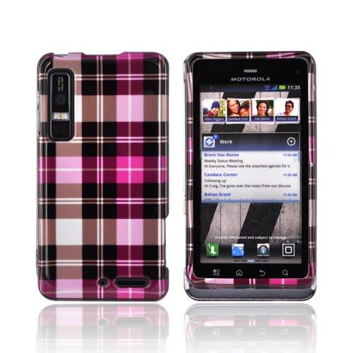 Motorola Droid 3 Hard Case - Plaid Pattern of Pink/ Hot Pink/ Brown/ Gray