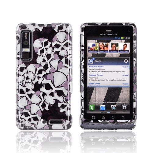 Motorola Droid 3 Hard Case - Silver Skulls on Black