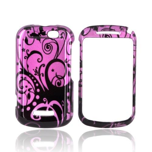 Motorola Clutch+ i475 Hard Case - Black Swirls Design on Purple