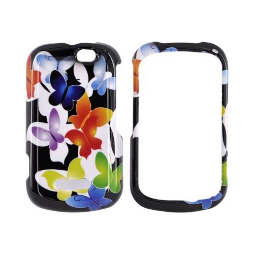 Motorola Clutch+ i475 Hard Case - Rainbow Butterflies on Black