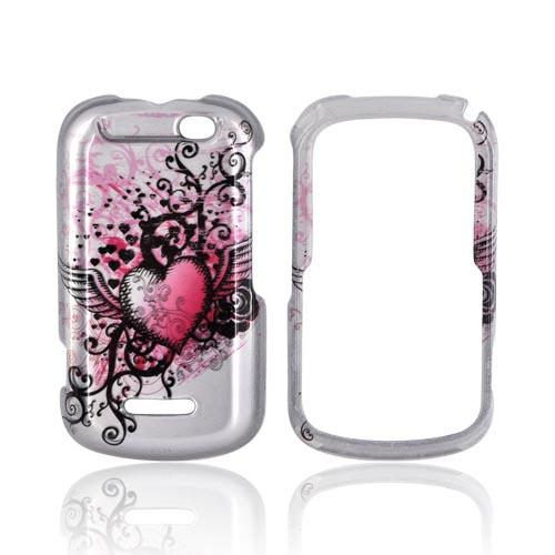 Motorola Clutch+ i475 Hard Case - Pink Heart w/ Wings on Silver