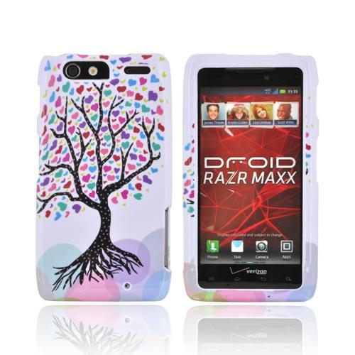 Motorola Droid RAZR MAXX Hard Case - Black Tree w/ Multi-Colored Hearts on White