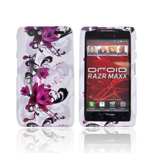 Motorola Droid RAZR MAXX Hard Case - Pink Flowers on White