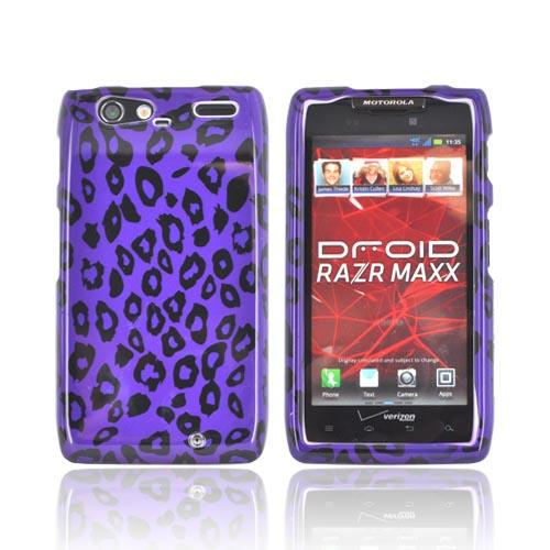 Motorola Droid RAZR MAXX Hard Case - Purple/ Black Leopard