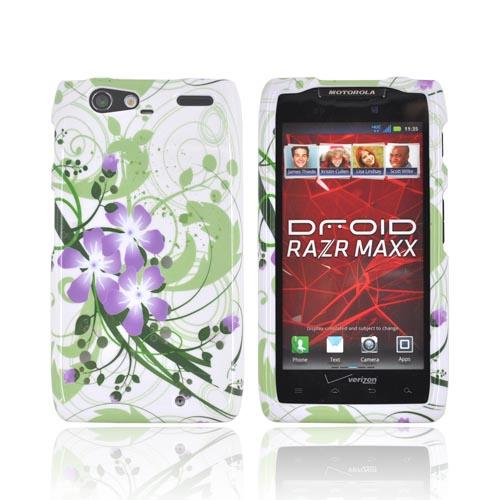 Motorola Droid RAZR MAXX Hard Case - Purple Lily on Green/ White