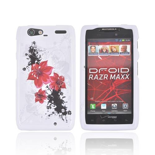 Motorola Droid RAZR MAXX Hard Case - Red Lily Flowers on White