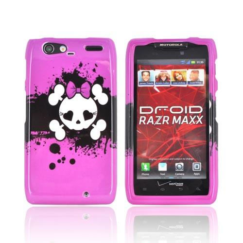 Motorola Droid RAZR MAXX Hard Case - White Skull w/ Bow on Hot Pink