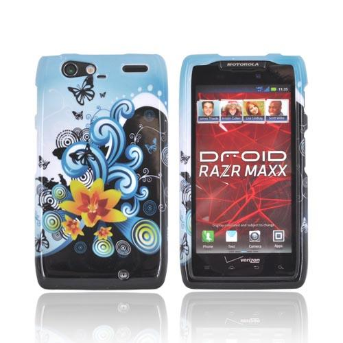 Motorola Droid RAZR MAXX Hard Case - Yellow Lily & Swirls on Turquoise/Black