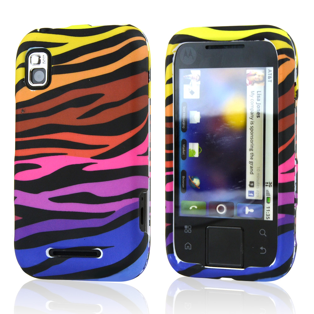 Motorola Flipside MB508 Hard Case - Rainbow Zebra on Black