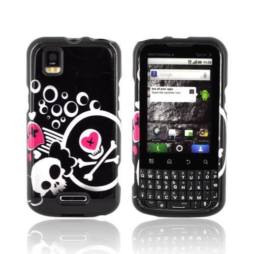 Motorola XPRT MB612 Hard Case - White Skulls & Pink Hearts on Black
