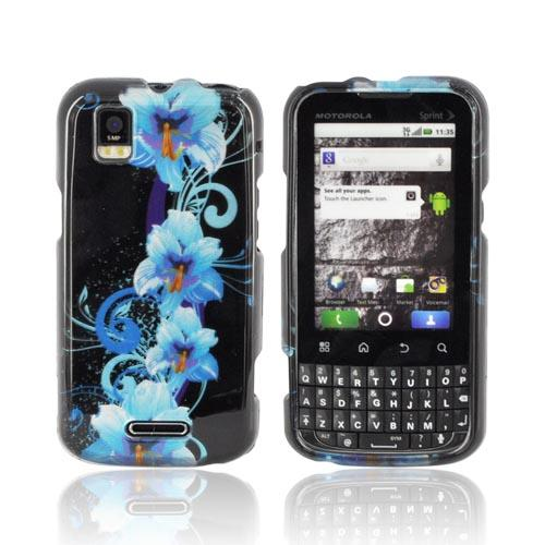 Motorola XPRT MB612 Hard Case - Blue Flowers on Black