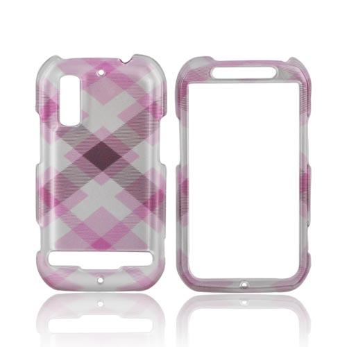 Motorola Photon 4G Hard Case - Plaid Pattern of Baby Pink, Brown, & Silver