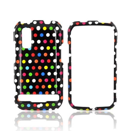 Motorola Photon 4G Hard Case - Rainbow Polka Dots on Black