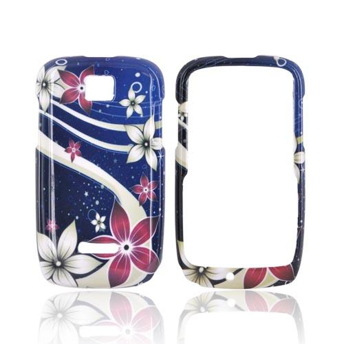 Motorola Theory Hard Case - Pink/ White Flowers on Blue
