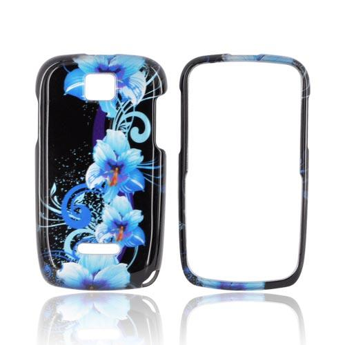 Motorola Theory Hard Case - Blue Flowers on Black