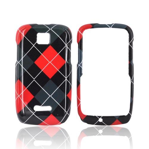 Motorola Theory Hard Case - Red/ Gray/ Black Argyle