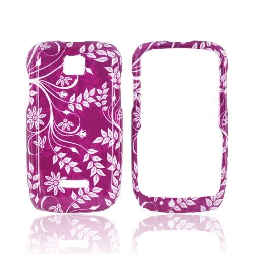 Motorola Theory Hard Case - White Flowers & Vines on Purple