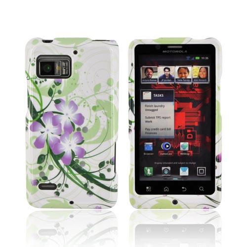 Motorola Droid Bionic XT875 Hard Case - Purple Lilly on Green/ White