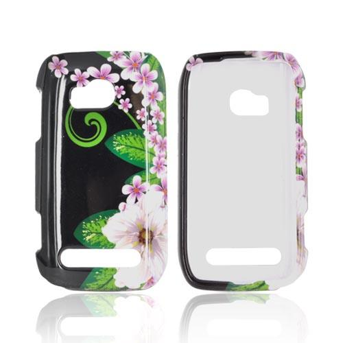 Nokia Lumia 710 Hard Case - White/ Green Flower on Black