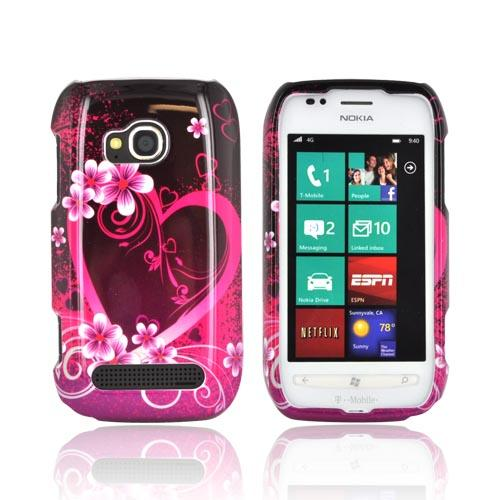 Nokia Lumia 710 Hard Case - Hot Pink/ Purple Flowers & Heart