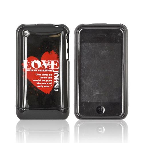 Apple iPhone 3G 3GS Passion Series Hard Case - Red Love John 3:16 on Black