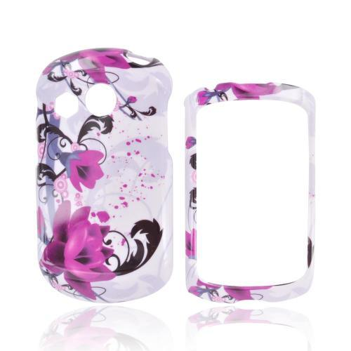 Pantech Swift Hard Case - Magenta Flowers & Black Vines