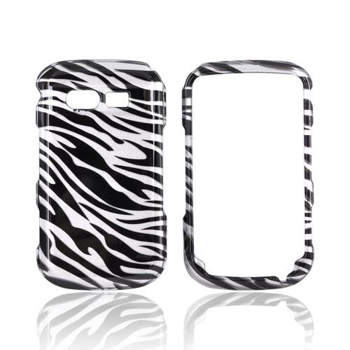 Pantech Caper Hard Case - Black Zebra on Silver