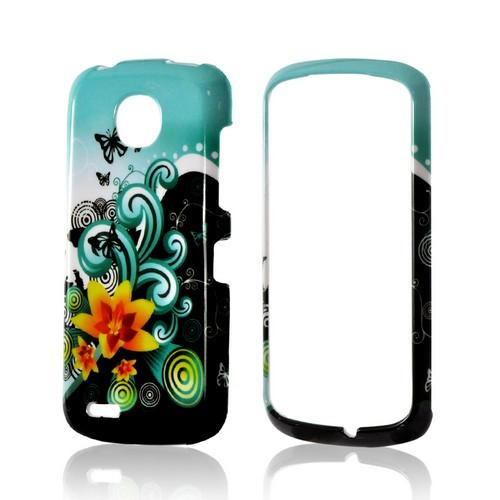 Yellow Lily w/ Swirls on Turquoise/ Black Hard Case for Pantech Marauder