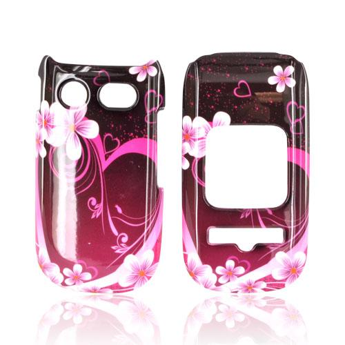 Pantech Breeze 3 Hard Case - Hot Pink/ Purple Flowers & Hearts