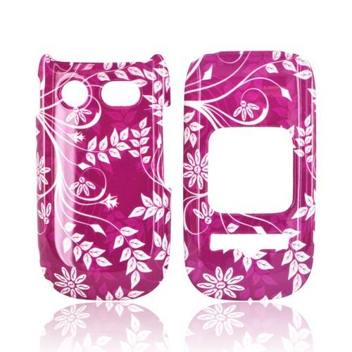 Pantech Breeze 3 Hard Case - White Vines & Flowers on Magenta