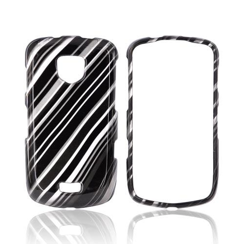 Samsung Droid Charge Hard Case - Black Lines on Silver
