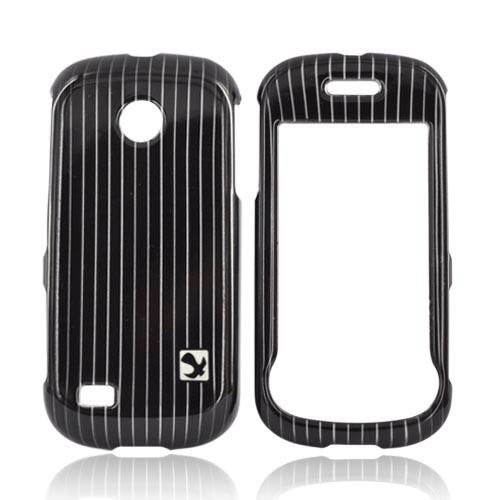 Luxmo Samsung Eternity 2 A597 Hard Case - Silver Vertical Lines Pattern On Black