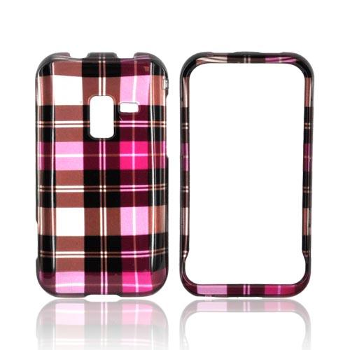 Samsung Conquer 4G Hard Case - Plaid Pattern of Pink/ Hot Pink/ Brown/ Silver
